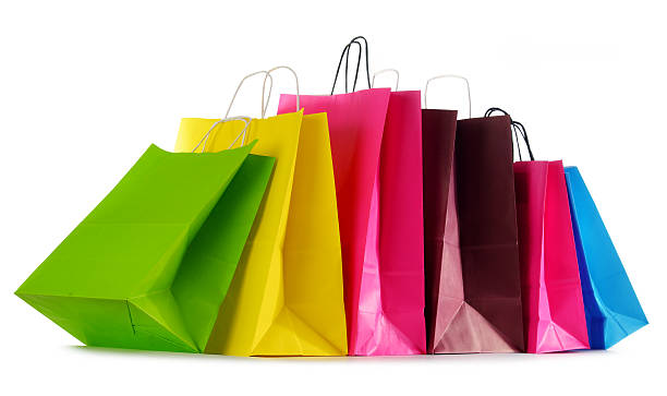 colorful shopping bags from shops online
